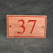 house-number-wooden-oak-board-sign-personalised-37-red